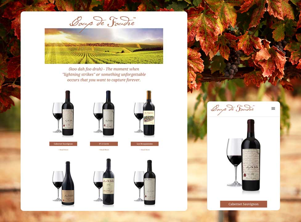 Website design for Coup de Foudre Winery